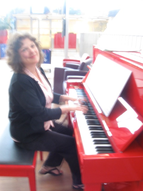 At Charles de Gaulle airport returning from the piano retreat in SW France (2012).